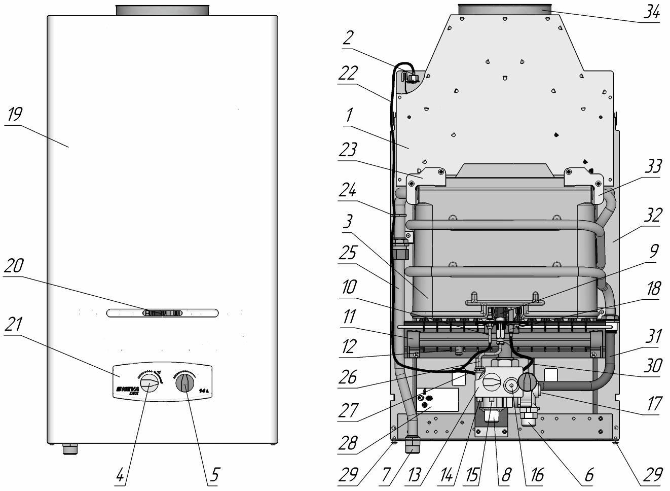 Схема газовой колонке нева люкс