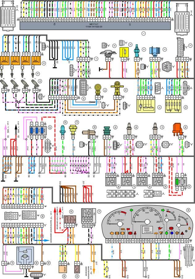 Рисунок 1 Схема электрических соединений эсуд евро-4 М74 е-газ автомобилей семейства lada samara.