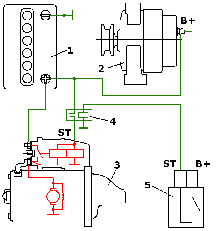 электросхема стартера мотоблока зубр